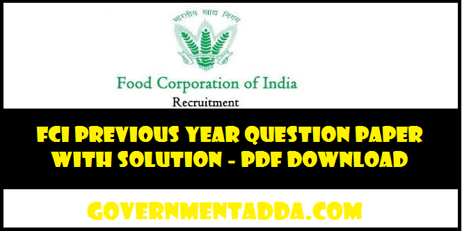 FCI Previous Year Question Paper